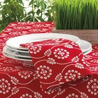 Love red and white floral bandana table linens