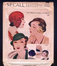 1931 McCall 1951 Hats Pattern for Ladies