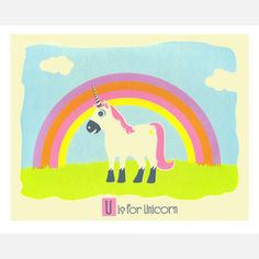 U is for Unicorn 14x11 now featured on Fab.