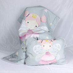 Baby Girl Bedding Set for a crib Fairy Fay Grey Rose  Nuva