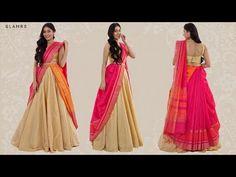 Remark Drapé Votre Saree Avec Un Lehenga Lehenga Designs, Kurta Designs, Lehenga Saree Design, Half Saree Designs, Pattu Saree Blouse Designs, Bridal Blouse Designs, Ghagra Saree, Lehenga Style Saree, Lehnga Dress