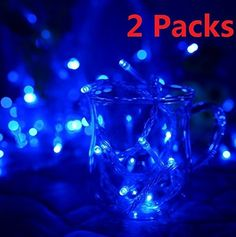 EVERMARKETTM 30FT 10M 100 LED Waterproof String Light with 8 Flashing Modes for Christmas Holiday Fairy Wedding Party Indoor Outdoor Decoration Lighting Blue  2 Packs -- Click on the image for additional details.