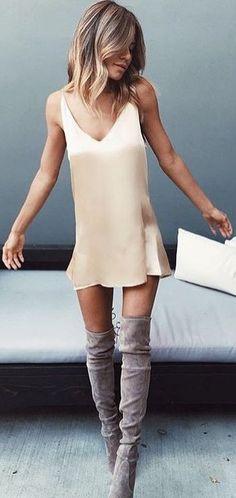 Beige Silk Slip Dress                                                                             Source