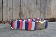 Striped Dog Collar Red White and Blue Dog Collar by SitStayStitch