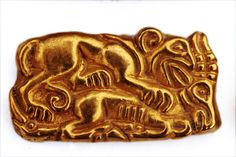 Sarmatian - item from burial mound (kurgan) from Southern Urals - Golden plaque depicting panther leaping on a saiga's (antelope) back