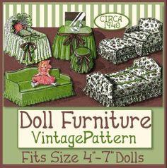Fun Furniture for Your 4 to 7 Inch Dolls  Vintage e-pattern PDF   Nancy Ann  Puki   BJDs  INSTANT DOWNLOAD just $3.99!