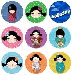 Kokeshi Dolls Digital Collage Sheet 1 Inch Bottle by planfstudios