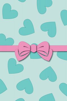Blue Hearts Pink Bow Wallpaper