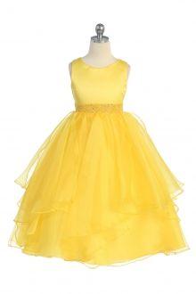 Yellow Satin and Organza Layered Flower Girl Dress