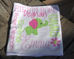 Personalized Owl Baby Blanket - Owl Receiving Blanket for Girls - Flower Owl Baby Name Blanket - Newborn Swaddling Blanket - Baby Photo Prop Owl Baby Blankets, Elephant Baby Blanket, Receiving Blankets, Soft Blankets, Monkey Girl, Monkey Baby, Swaddle Wrap, Personalized Baby Blankets, Baby Owls
