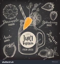 Juice Menu Placemat Drink Restaurant Brochure, Dessert Template Design. Vintage Creative Beverage Template With Hand-Drawn Graphic. Vector Food Menu Flyer. Gourmet Menu Board. - 428958028 : Shutterstock