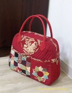 Japanese Bag, Handmade Handbags, Quilted Bag, Fabric Bags, Sewing Projects, Handbag Patterns, Quilts, Embroidery, My Style