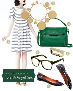 What to Wear with a Cute Striped Dress - I'd like to start wearing stripes and this might be a good place to get inspiration!
