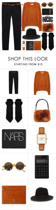 """Fur Bag - Fall Date"" by jiabao-krohn ❤ liked on Polyvore featuring Étoile Isabel Marant, Yves Saint Laurent, Alexander Wang, NARS Cosmetics, MICHAEL Michael Kors, Muji, S.T. Dupont, booties, jumper and falltrend"
