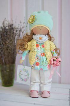 Купить Кукла Вероника с букетом цветов. - желтый, бирюзовый, кукла ручной работы, кукла в подарок