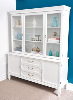 From brown china cabinet to white craft room storage