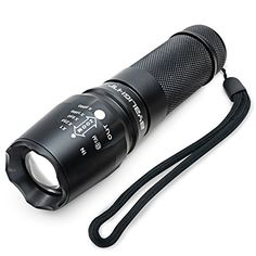 BYB E453 800 Lumens Ultra Bright CREE XML T6 LED Tactical Flashlight with Adjustable Focus and 5 Modes for Emergencies Rugged Aluminum Construction Outdoor Water Resistant Lamp Torch with Rechargeable Battery and AC charger ** Details can be found by clicking on the image.
