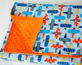 Boys baby blanket.  Love the double stitch binding. I have to sew one of these for my class.... Perfect