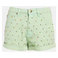 MINKPINK 'Cheeky Stud' High Waist Shorts ($79) ❤ liked on Polyvore