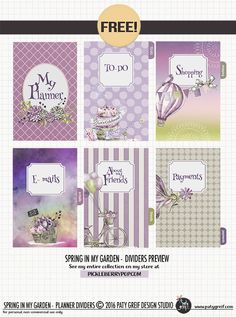 """""""Spring In My Garden"""" Planner Dividers by Paty Greif. TOTALY FREE! Enjoy :) Meet my new collection in my Store at Pickleberrypop."""