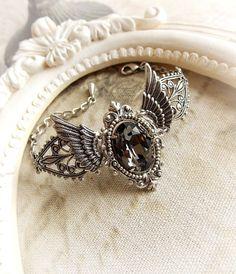 Winged grey Swarovski crystal bracelet gothic by MidnightVision