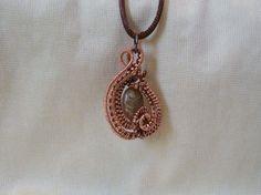 Autumn Jasper Gemstone Copper Wire Wrapped Pendant Necklace Hardcrafted Artisan #Handmade #Pendant