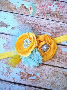 SALE Mustard Yellow Aqua Baby Girls Fancy Flower Headbands,Infant Hair Bows,Womens Clips,Newborn Photo Prop via Etsy