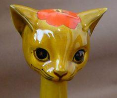 Vintage Ceramic Cat Mid-Century Flower Power от chriscre на Etsy