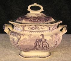 Antique Staffordshire Giraffe Purple Transferware Sugar Bowl