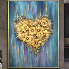 Large Abstract Painting Original Oversize Love Painting Canvas Artwork Heart Painting Large Canvas Oil Painting Modern Painting Acrylic | FLOWER HEART