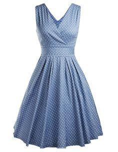 OOFIT Robe Années 50's Vintage 1950's Audrey Hepburn Pin-Up Robe De Soirée Cocktail, Style Halter Années 50's à Pois Taille 34-42 4 couleurs à choisir: Amazon.fr: Vêtements et accessoires