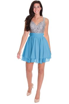 Light Blue Many Colors Chiffon and Sequin Straps Dress,blue,4