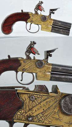 Double Barrel Flintlock Coat/Muff Pistol.