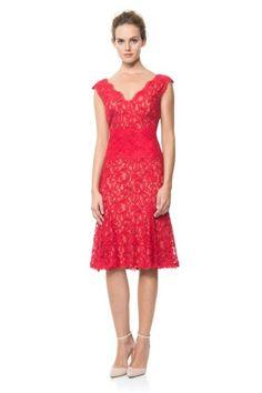 Tadashi Shoji Contrast Lace Waist Dress