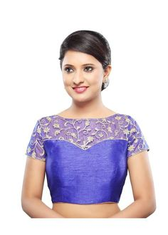 Designer Royal Blue Net Back Open Ready-made Saree Blouse Choli – Saris and Things Readymade Blouses Online, Net Blouses, Net Saree Blouse, Saree Blouse Designs, Indian Look, Indian Wear, Indian Dresses, Indian Outfits, Indian Clothes
