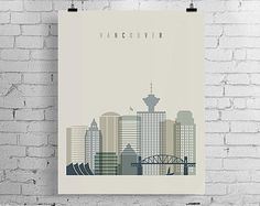 Check out our vancouver selection for the very best in unique or custom, handmade pieces from our art & collectibles shops. Travel City, Wall Decor, Wall Art, Vintage Marketplace, Typography Art, Poster Wall, Vancouver, Digital Prints, Printable