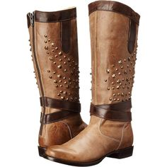Stetson Angel (Burnished Brown) Women's Boots ($180) ❤ liked on Polyvore featuring shoes, boots, brown, knee-high boots, knee high leather boots, brown boots, genuine leather boots, leather boots and brown knee boots