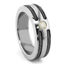 Titanium  Black Titanium Cable Diamond Ring