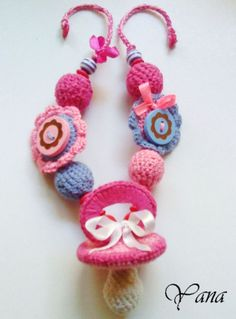 """Master-class 2nd class """"Knit Baby necklace with toy""""...Diagrams use google chrome..tut translates to english"""