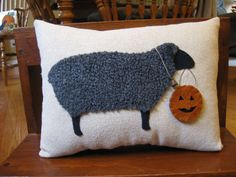 Wooly Black Sheep Pillow....Trick or Treat Pumpkin
