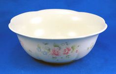 Pfaltzgraff TEA ROSE Party Bowl 9.5 in. Pink Blue Flowers Stoneware. As always your entire order ships for only $4.99, only at http://www.totallytableware.com/