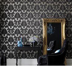 wall covering by Graham and Brown...beautiful, contemporary damask