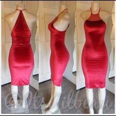 Custom Made Red Velvet Dress