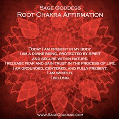 7 Days of Chakra Balancing - Day 1: ROOT CHAKRA  - When doing Root Chakra work, you should gather your black and red stones (Tourmaline, Hematite, Garnet, Red Calcite, etc.) a red candle, and a grounding oil blend (e.g., Solum, Terra, or North). Smudge with sage, light your candle, anoint yourself with a centering scent; then, when your mind is clear and focused, repeat the following mantra. - loved and  pinned by www.omved.com