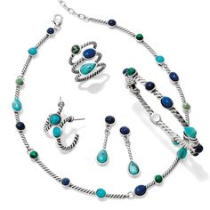 Brighton's New delicate Monte Carlo Collection turns boho chic this season with turquoise-colored stones in new necklace, ring and earrings styles