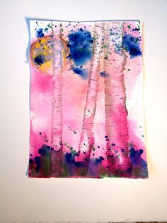 Watercolors Painting Original  Pink Trees by DistractionsArt