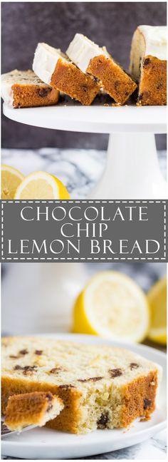 Chocolate Chip Lemon Bread Recipe source: Marsha's Baking Addiction Really nice recipes. Köstliche Desserts, Delicious Desserts, Cake Recipes, Dessert Recipes, Bread Recipes, Brownies, Lemon Bread, Dessert Bread, Artisan Bread