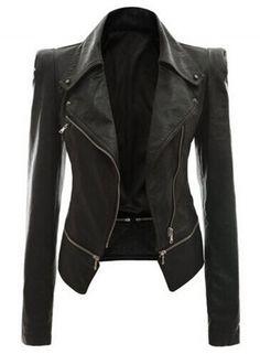 Fashion Slim Fit Motorcycle Zip PU Jacket OASAP.com Vetement Cuir, Manteau  En Cuir 9b93e974ff8a