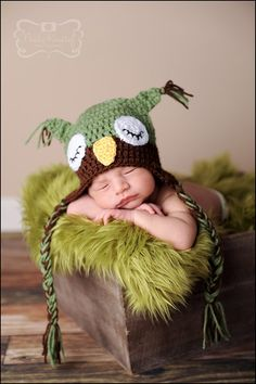 Baby Owl Hat Sleepy Owl Green and Brown by LittleLovesDesigns