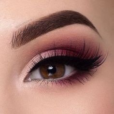 """Burgundy smokey eye  Tutorial on it is on my YouTube channel  Hit the link in my instagram bio to watch it  Products used: @sigmabeauty gel eyeliner (wicked) Use discount code""""denitslava"""" for 10 off ALL @sigmabeauty products @anastasiabeverlyhills eyeshadows (fresh,burnt Orange) & dipbrow pomade in medium brown @meltcosmetics love sick stack (love sick) @lapaigetrends lashes in the style Rosie"""